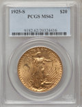 Saint-Gaudens Double Eagles: , 1925-S $20 MS62 PCGS. PCGS Population (70/104). NGC Census:(111/57). Mintage: 3,776,500. Numismedia Wsl. Price for problem...