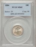Seated Dimes: , 1884 10C MS65 PCGS. PCGS Population (55/53). NGC Census: (64/62).Mintage: 3,365,505. Numismedia Wsl. Price for problem fre...