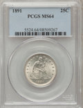 Seated Quarters: , 1891 25C MS64 PCGS. PCGS Population (151/80). NGC Census:(134/124). Mintage: 3,920,600. Numismedia Wsl. Price for problem...