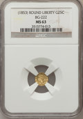 California Fractional Gold: , Undated 25C Liberty Round 25 Cents, BG-222, R.2, MS63 NGC. NGCCensus: (22/32). PCGS Population (111/121). (#10407)...