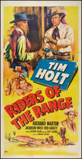 "Movie Posters:Action, Riders of the Range (RKO, 1950). Three Sheet (41"" X 81""). Action....."