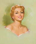 Pin-up and Glamour Art, PEARL FRUSH (American, 20th Century). Portrait of a BlondeBeauty, calendar illustration, 1962. Pastel on board. 25.5 x...