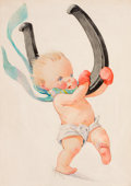 Mainstream Illustration, CHARLES TWELVETREES (American, 1888-1948). The Turkish Yataghan,Collier's magazine cover, January 2, 1932. Watercolor a...(Total: 2 Items)