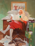 Mainstream Illustration, JOHN NEWTON HOWITT (American, 1885-1958). Santa ReadingChristmas Letters. Oil on canvas. 20.5 x 16 in. (image). Signed...