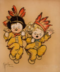 Paintings, GRACE G. DRAYTON (American, 1877-1936). Native American Children. Mixed media on board. 25 x 21 in.. Signed lower left. ...