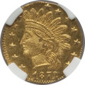 California Fractional Gold: , 1872/1 25C Indian Round 25 Cents, BG-868, High R.4, MS64 NGC. NGCCensus: (1/0). PCGS Population (14/19). (#10729)...
