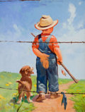 Mainstream Illustration, RAYMOND JAMES STUART (American, b.1882). On the Lookout. Oilon canvas. 24 x 18 in.. Signed lower left. ...
