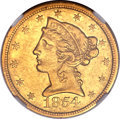 Liberty Half Eagles, 1854-C $5 AU55 NGC. Variety 2....