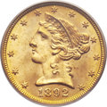 Liberty Half Eagles, 1892 $5 MS65 PCGS....