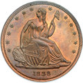 Patterns, 1838 P50C Seated Liberty Half Dollar, Judd-77 Restrike, Pollock-85,High R.7, PR66 Red and Brown NGC....