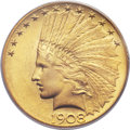 Indian Eagles, 1908 $10 Motto MS65 PCGS....