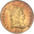 Early Half Eagles, 1802/1 $5 AU53 ANACS. BD-1, High R.4....