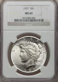 Peace Dollars, 1927 $1 MS65 NGC....