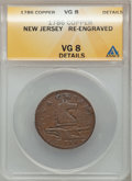 Colonials, 1786 New Jersey Copper, Narrow Shield -- Re-Engraved -- ANACS. VG8Details and a 1787 New Jersey Copper, Small Planchet, P... (Total:2 coins)