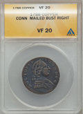 Colonials: , 1788 COPPER Connecticut Copper, Mailed Bust Right VF20 ANACS. NGCCensus: (3/11). PCGS Population (7/36). (#397)...