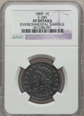 Large Cents: , 1809 1C -- Environmental Damage -- NGC Details. XF. S-280. NGCCensus: (2/21). PCGS Population (5/22). Mintage: 222,867. N...