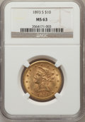 Liberty Eagles: , 1893-S $10 MS63 NGC. NGC Census: (15/3). PCGS Population (47/4).Mintage: 141,350. Numismedia Wsl. Price for problem free N...