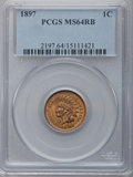 Indian Cents: , 1897 1C MS64 Red and Brown PCGS. PCGS Population (210/29). NGCCensus: (306/206). Mintage: 50,466,328. Numismedia Wsl. Pric...