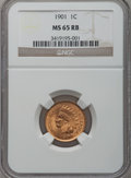 Indian Cents: , 1901 1C MS65 Red and Brown NGC. NGC Census: (332/48). PCGSPopulation (94/3). Mintage: 79,611,144. Numismedia Wsl. Price fo...
