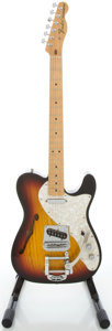 Musical Instruments:Electric Guitars, 2002 Fender Telecaster Thinline MIM Sunburst Semi-Hollow BodyElectric Guitar, Serial #MZ2123617....