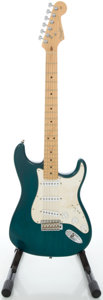 Musical Instruments:Electric Guitars, 2002 Fender Stratocaster USA Highway I Trans Green Solid BodyElectric Guitar, Serial #Z2051021....