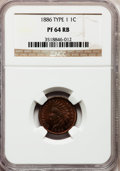Proof Indian Cents: , 1886 1C Type One PR64 Red and Brown NGC. NGC Census: (80/151). PCGSPopulation (109/98). Mintage: 4,290. Numismedia Wsl. Pr...