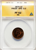 Proof Indian Cents, 1875 1C Repunched Date PR62 Red and Brown ANACS. S-3. NGC Census: (2/236). PCGS Population (3/161). Mintage: 700. Numismedi...