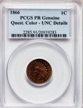 Proof Indian Cents, 1866 1C -- Questionable Color -- Proof Genuine PCGS. Unc Details.NGC Census: (0/34). PCGS Population (0/19). Mintage: 725....