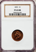 Proof Indian Cents: , 1893 1C PR65 Red and Brown NGC. NGC Census: (80/16). PCGSPopulation (23/2). Mintage: 2,195. Numismedia Wsl. Price forprob...