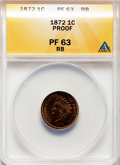Proof Indian Cents: , 1872 1C PR63 Red and Brown ANACS. NGC Census: (30/220). PCGS Population (39/194). Mintage: 950. Numismedia Wsl. Price for p...