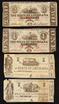 Obsoletes By State:Louisiana, Baton Rouge, LA- State of Louisiana $1; $2 Feb. 24, 1862. Shreveport, LA- State of Louisiana $1 Mar. 1, 1864 Two Varieti... (Total: 4 notes)