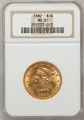 Liberty Eagles: , 1882 $10 MS61 NGC. NGC Census: (5834/4520). PCGS Population(2342/2274). Mintage: 2,324,480. Numismedia Wsl. Price for prob...