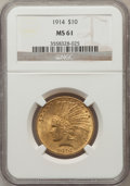 Indian Eagles: , 1914 $10 MS61 NGC. NGC Census: (498/1122). PCGS Population(219/1130). Mintage: 151,050. Numismedia Wsl. Price for problem ...