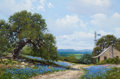 Paintings, WILLIAM A. SLAUGHTER (American, 1923-2003). Bluebonnet Hillside with Windmill, 1976. Oil on canvas. 36 x 24 inches (91.4...