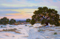 Texas:Early Texas Art - Regionalists, WILLIAM A. SLAUGHTER (American, 1923-2003). Sunset on the SnowyHillside. Oil on canvas. 24 x 36 inches (61.0 x 91.4 cm)...