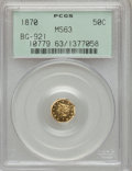 California Fractional Gold, 1870 50C Liberty Octagonal 50 Cents, BG-921, Low R.5, MS63 PCGS....