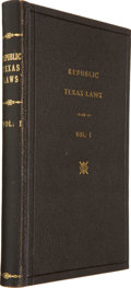 Books:Americana & American History, [Texas Republic]. Laws of the Republic of Texas, In TwoVolumes....