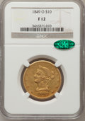 Liberty Eagles: , 1849-O $10 Fine 12 NGC. CAC. NGC Census: (1/88). PCGS Population(0/77). Mintage: 23,900. Numismedia Wsl. Price for problem...