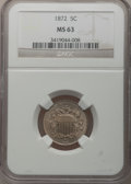 Shield Nickels: , 1872 5C MS63 NGC. NGC Census: (34/109). PCGS Population (70/153).Mintage: 6,036,000. Numismedia Wsl. Price for problem fre...