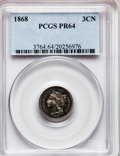 Proof Three Cent Nickels: , 1868 3CN PR64 PCGS. PCGS Population (75/70). NGC Census: (67/82).Mintage: 600. Numismedia Wsl. Price for problem free NGC/...