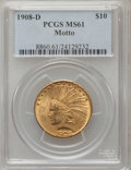 Indian Eagles: , 1908-D $10 Motto MS61 PCGS. PCGS Population (64/303). NGC Census:(155/204). Mintage: 836,500. Numismedia Wsl. Price for pr...