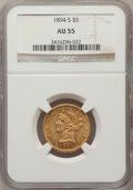 Liberty Half Eagles: , 1894-S $5 AU55 NGC. NGC Census: (42/71). PCGS Population (16/24).Mintage: 55,900. Numismedia Wsl. Price for problem free N...