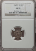 Seated Half Dimes: , 1865-S H10C AU58 NGC. NGC Census: (12/22). PCGS Population (5/18).Mintage: 120,000. Numismedia Wsl. Price for problem free...