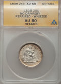 Seated Quarters: , 1838 25C No Drapery -- Repaired, Whizzed -- ANACS. AU50 Details.NGC Census: (5/117). PCGS Population (14/102). Mintage: 46...