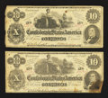 Confederate Notes:1862 Issues, T46 $10 1862 Two Examples.. ... (Total: 2 notes)