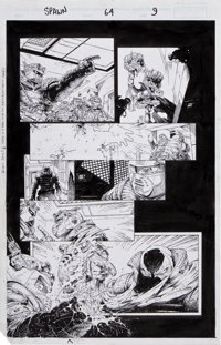 Greg Capullo, Todd McFarlane, and Chance Wolf Spawn #64 Page 9 Original Art (Image, 1997).... (Total: 3 Items)