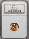 Lincoln Cents: , 1958 1C MS67 Red NGC. NGC Census: (310/2). PCGS Population (19/0).Mintage: 253,400,656. Numismedia Wsl. Price for problem ...