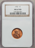 Lincoln Cents: , 1952 1C MS67 Red NGC. NGC Census: (140/0). PCGS Population (9/0).Mintage: 186,856,976. Numismedia Wsl. Price for problem f...