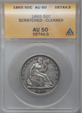 Seated Half Dollars: , 1865 50C -- Scratched, Cleaned -- ANACS. AU50 Details. NGC Census:(3/47). PCGS Population (4/49). Mintage: 511,400. Numism...