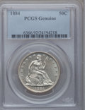 Seated Half Dollars, 1884 50C Genuine PCGS. The PCGS number ending in .92 suggestscleaning as the reason, or perhaps one of the reasons, that P...